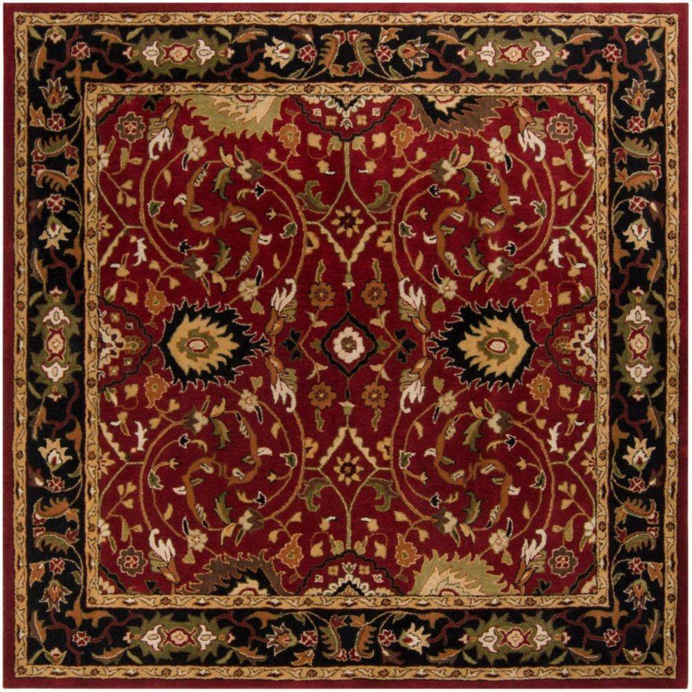 Tapis Calistoga rouge en laine, carré  - 4 Po.
