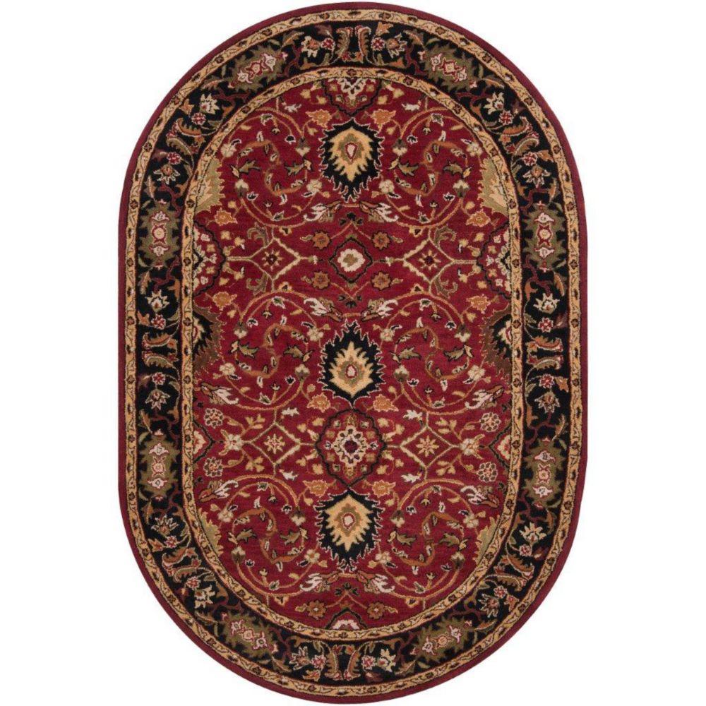 Tapis Calistoga rouge en laine, ovale  - 6 Po. x 9 Po.