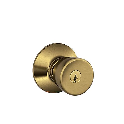 Orbit Antique Brass Keyed Entry Knob