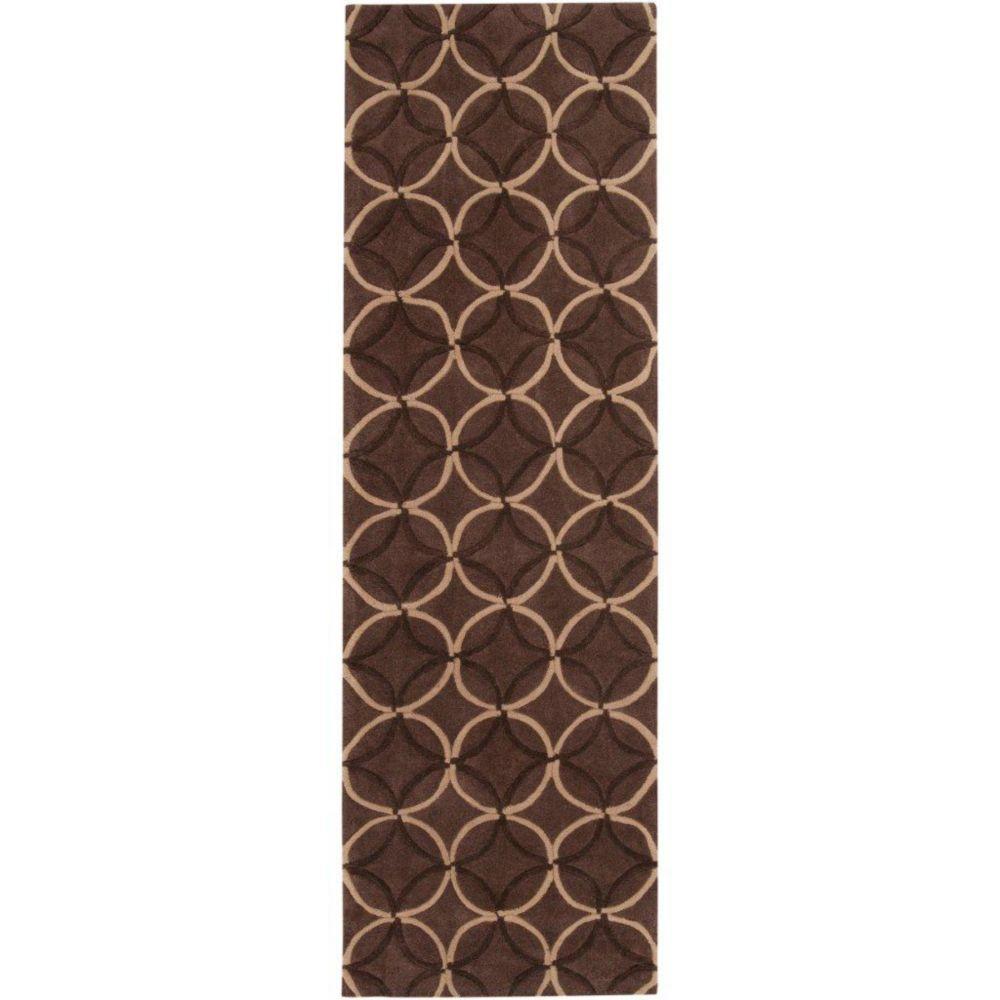 Jarze Brown Polyester 2 Feet 6 Inch x 8 Feet Runner