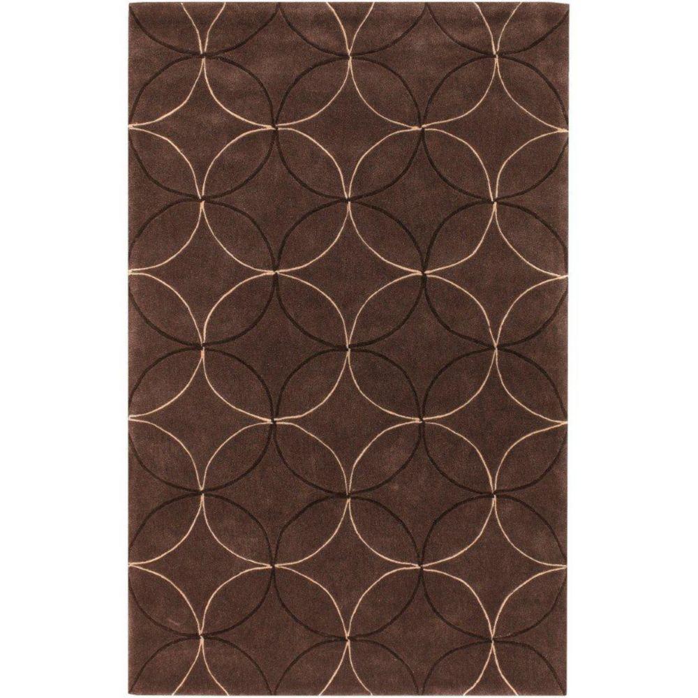 Tapis Jarze brun polyester 3 Pi. 6 Po. x 5 Pi. 6 Po.