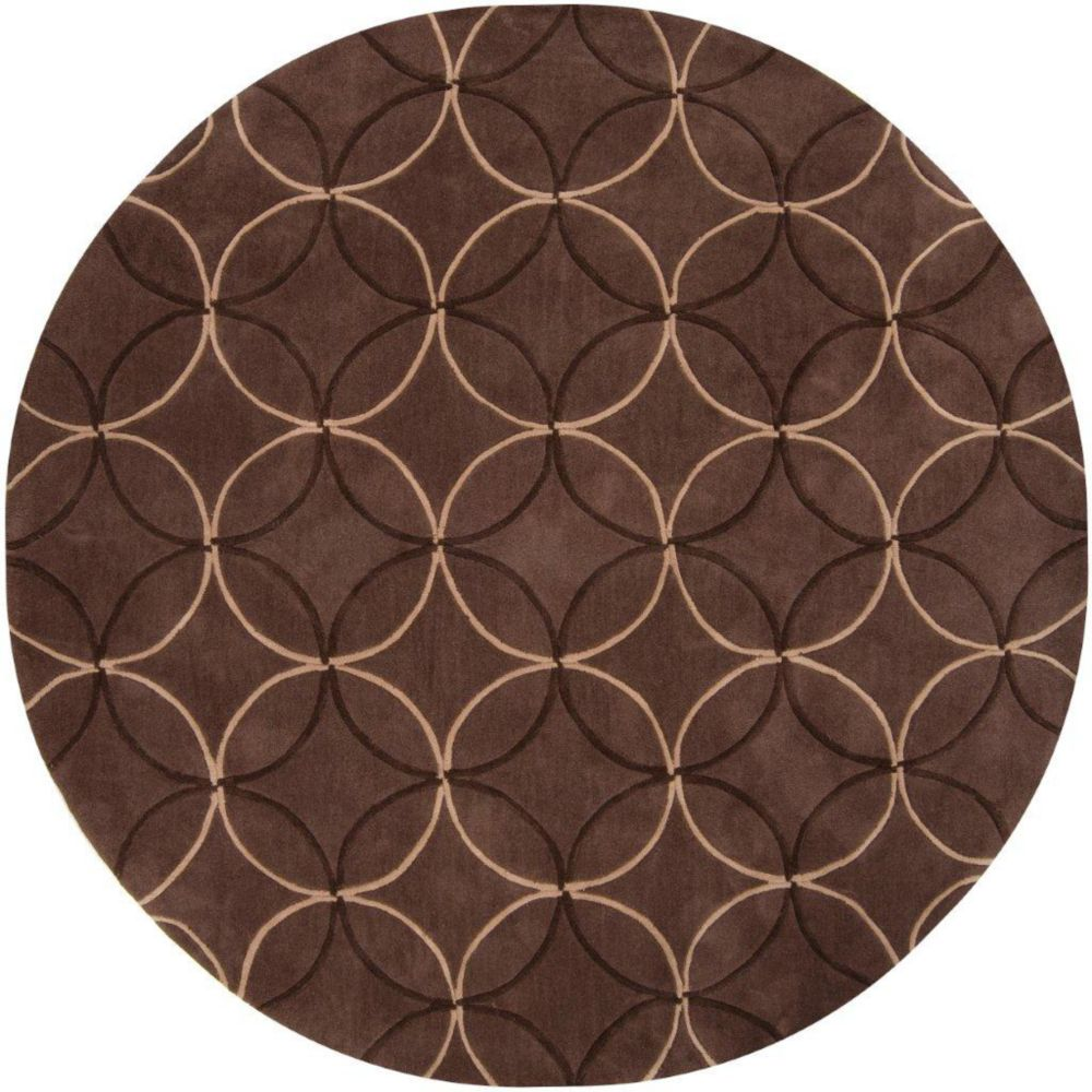Jarze Brown Polyester 8 Feet Round Area Rug