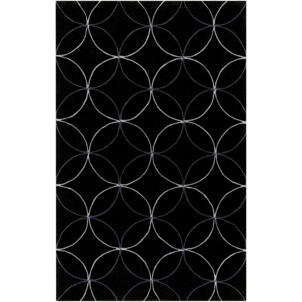 Tapis Killem noir polyester 3 Pi. 6 Po. x 5 Pi. 6 Po.