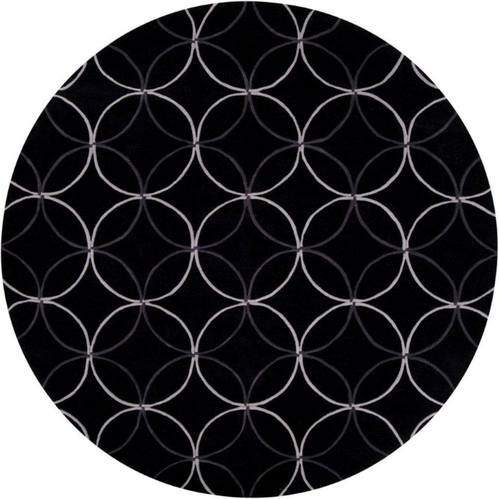 Killem Black Polyester 8 Feet Round Area Rug