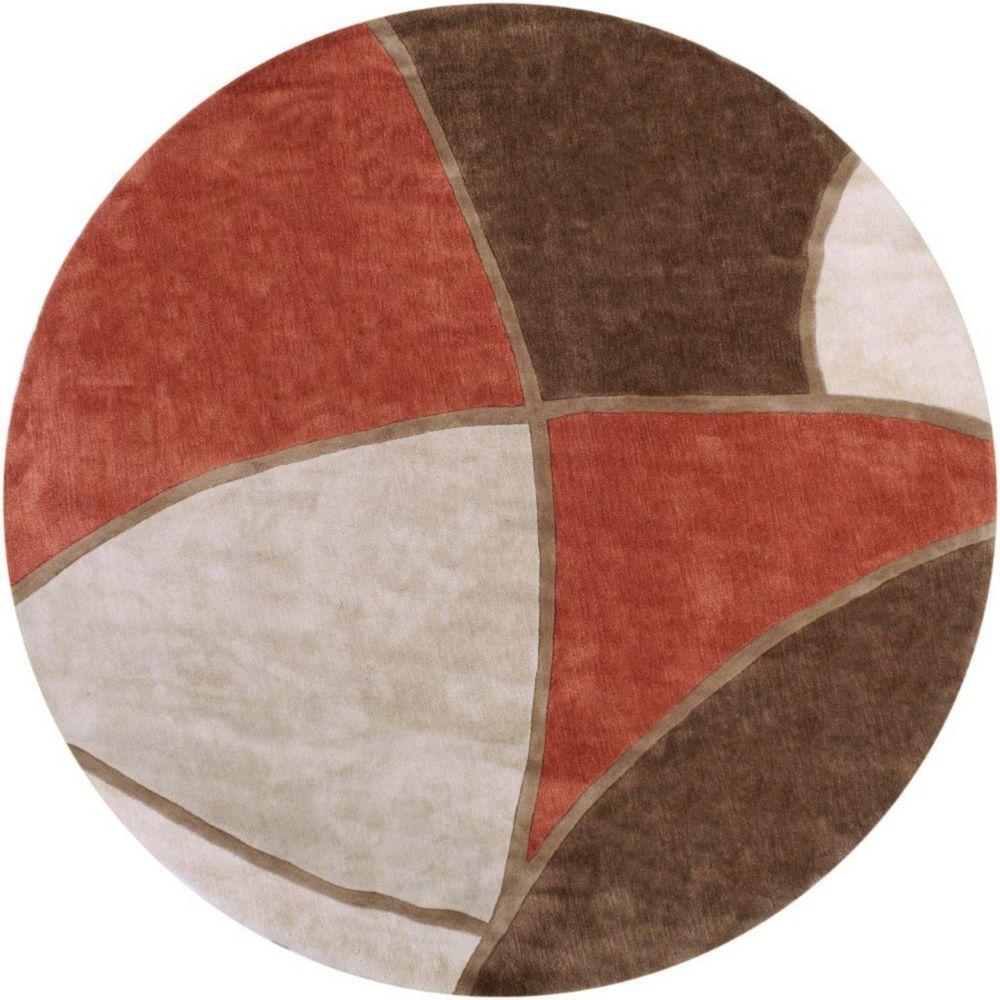 Tapis Kilstett brun polyester 8 Pi. rond