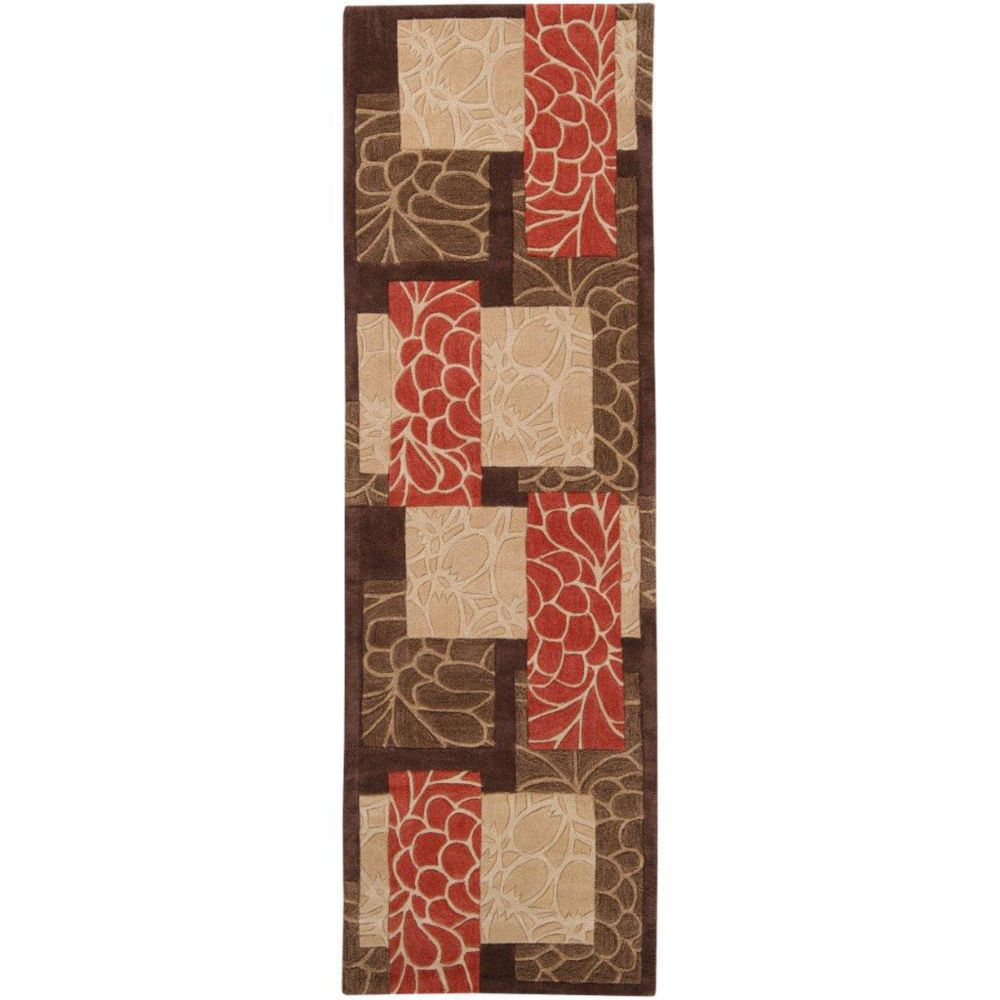 Macau Brown Polyester Runner - 2 Ft. 6 In. x 8 Ft. Area Rug