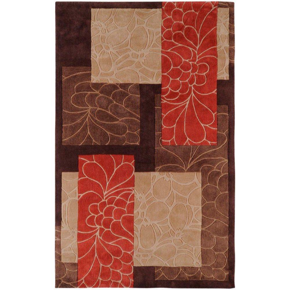 Tapis Macau brun  polyester  - 3 Po. 6 Pi. x 5 Po. 6 Pi.