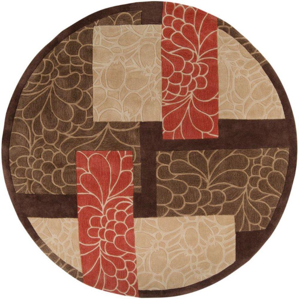 Tapis Macau brun  polyester  - 8 Po., rond