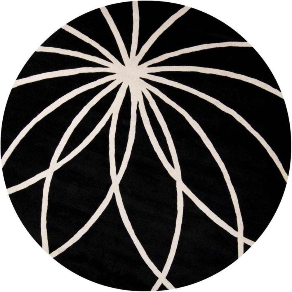 Rambouillet Black Wool 6 Ft. Round Area Rug