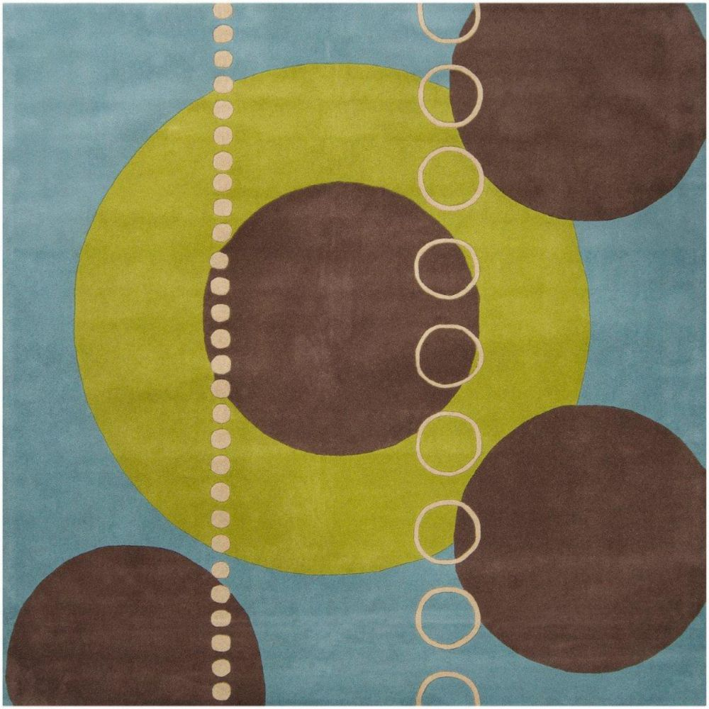 Rismes Sky Wool 4 Feet Square Area Rug