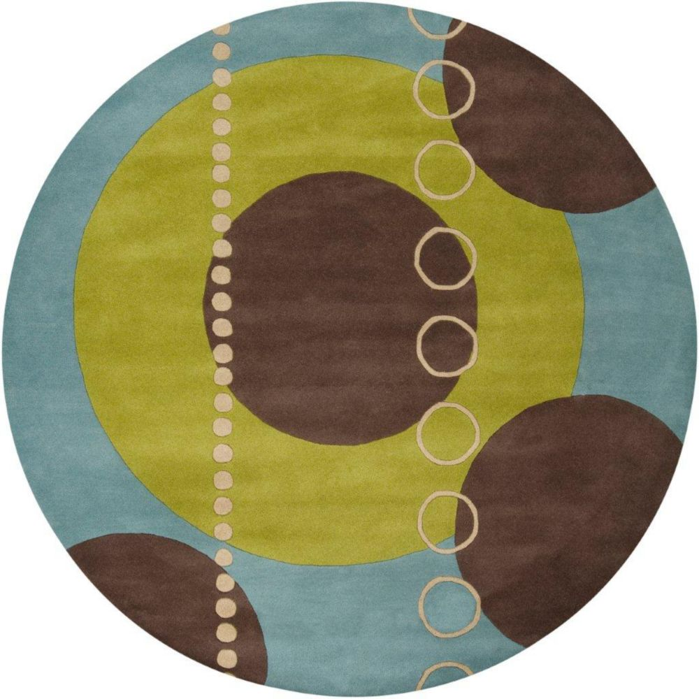 Rismes Sky Wool 6 Feet Round Area Rug