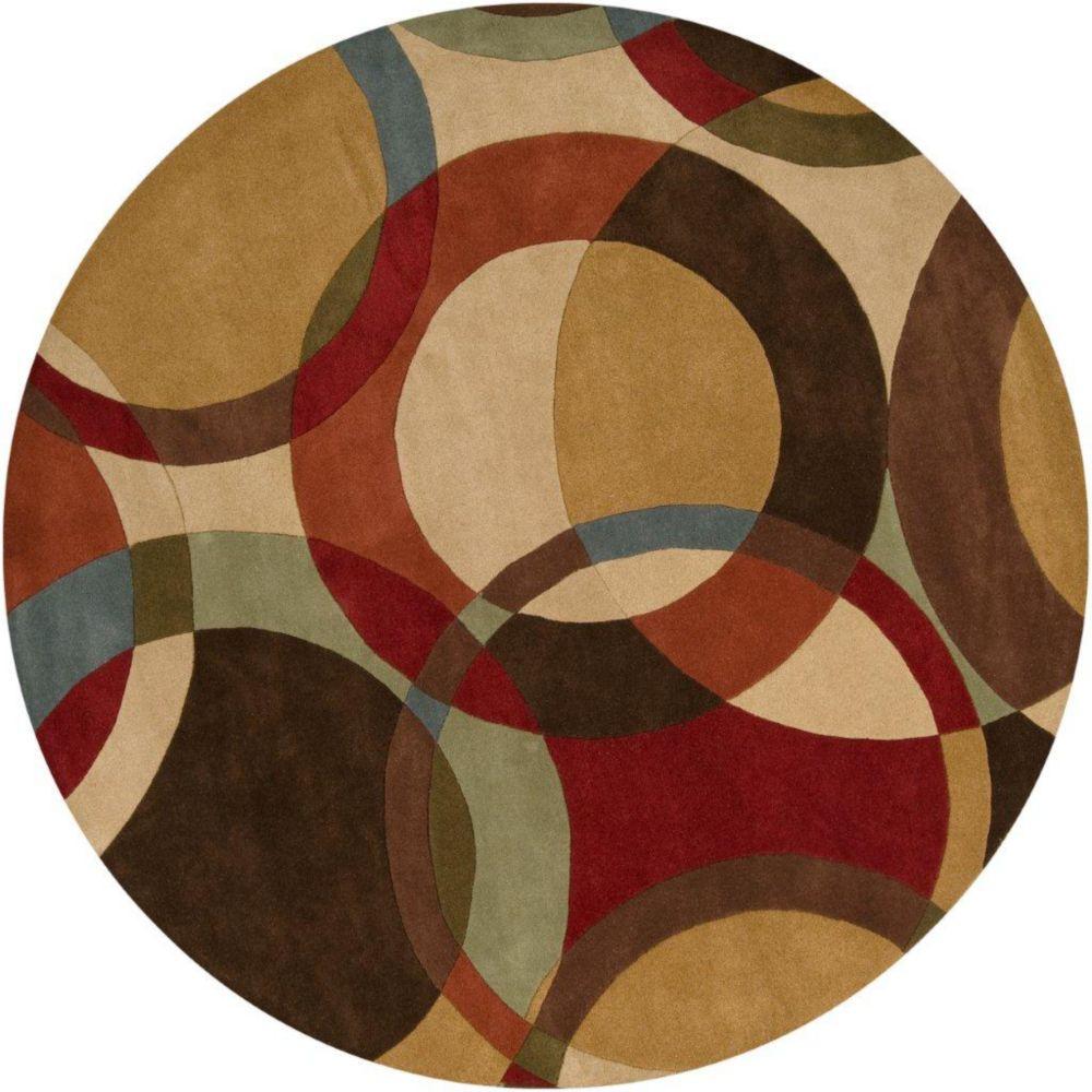 Sablet Chocolate Wool 4 Feet Round Area Rug