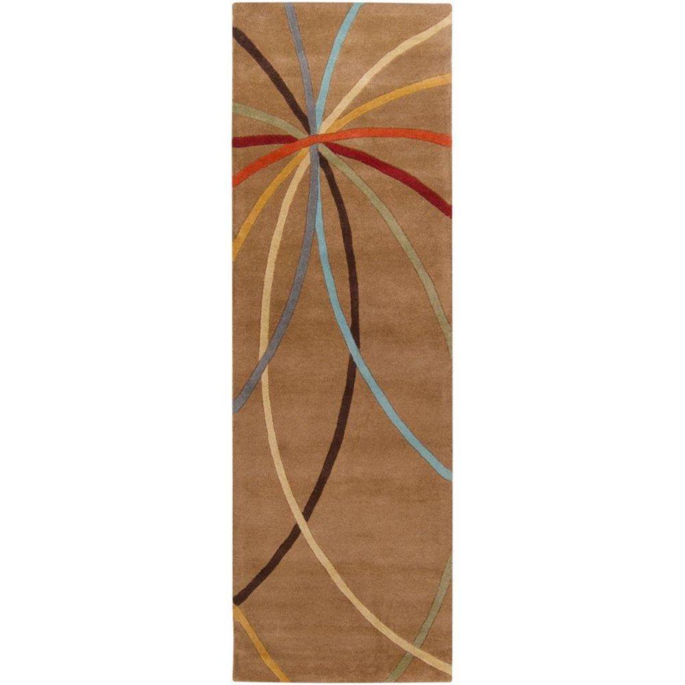 Sache Mocha Wool Area Rug - 3 Feet x 12 Feet