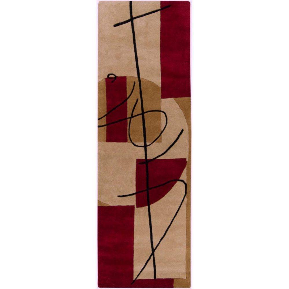Tapis de passage Taluyers bourgogne en laine de Nouvelle-Zélande 2 Pi. 6 Po. x 8 Pi.