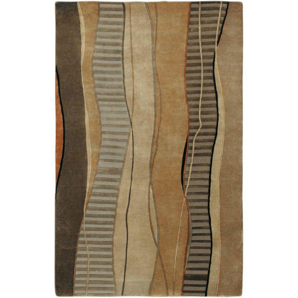 Taninges Cocoa Semi-Worsted New Zealand Wool 8 Feet x 11 Feet Area Rug