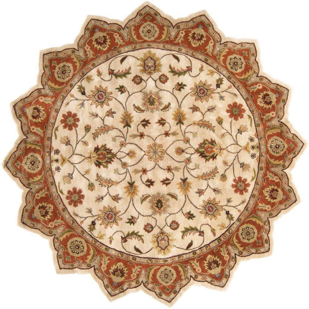Paimpont Golden Beige Wool Star  - 8 Ft. Area Rug
