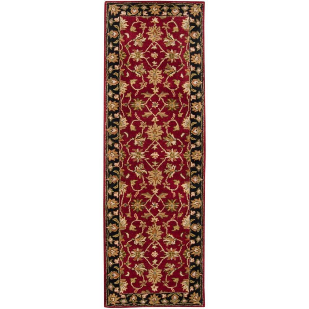 Palinges Burgundy Wool  - 3 Ft. x 12 Ft. Area Rug