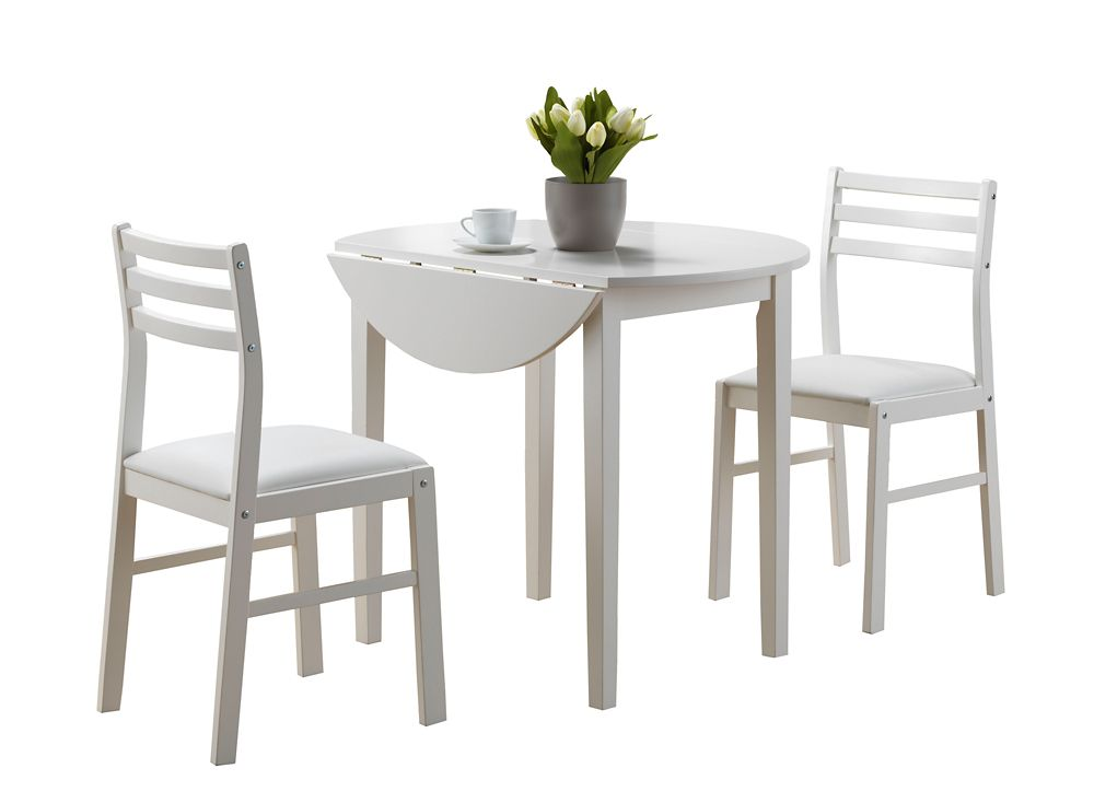 "Dining Set - 3Pcs Set / White With A 36"" Dia Drop Leaf I 1008 Canada Discount"