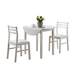 Monarch Specialties 36-inch D 3-Piece Round Dining Set in White with Drop Leaf