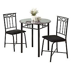 Dining Set - 3Pcs Set / Grey Marble / Charcoal Metal