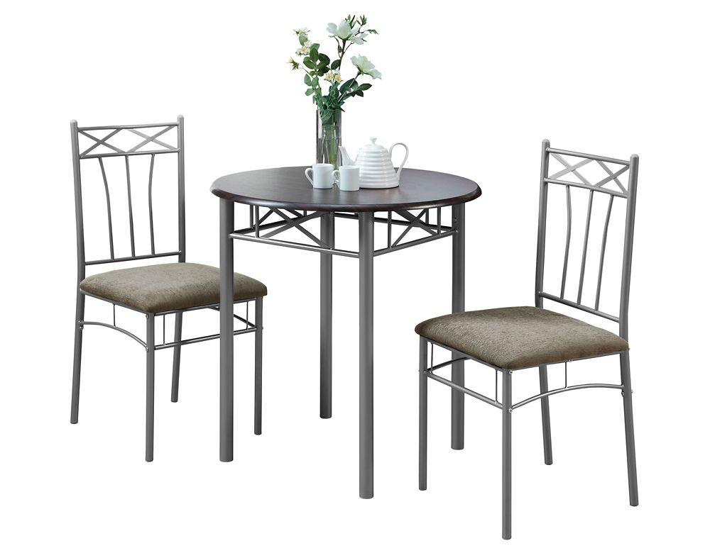 Dining Set - 3Pcs Set / Cappuccino / Silver Metal