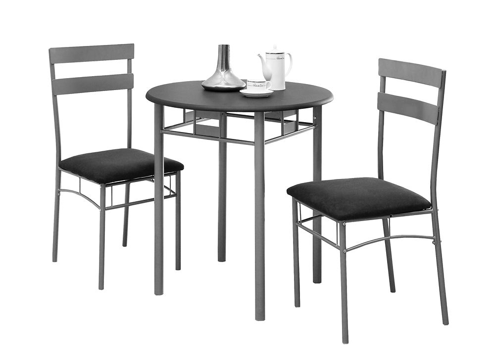 Monarch Specialties 3-Piece Dining Set in Black & Silver