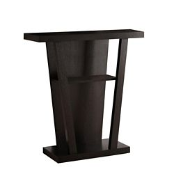 Monarch Specialties 32-inch L Hall Console Accent Table in Cappuccino