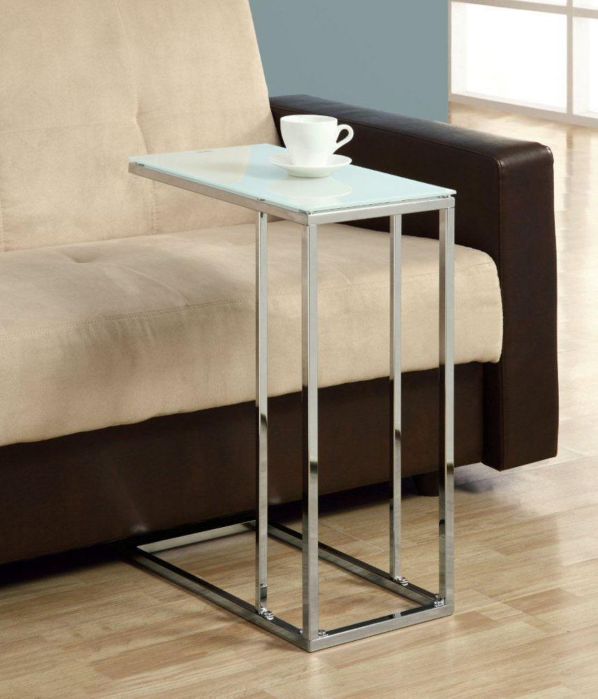 Monarch Specialties Tempered Glass Accent Table in Chrome