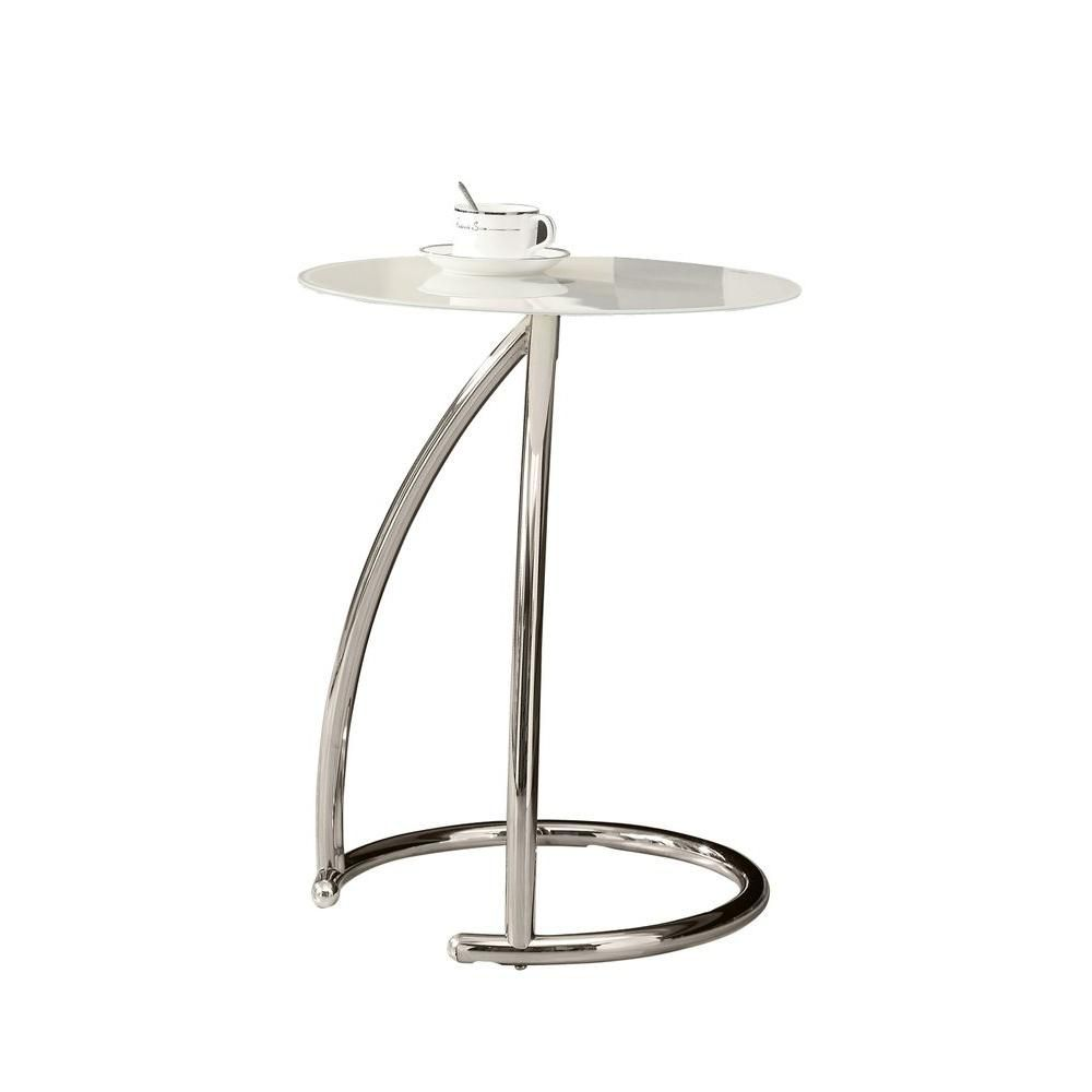 Monarch Specialties Accent Table - Chrome Metal With Frosted Tempered Glass