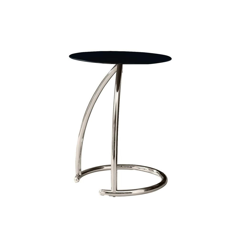 Accent Table - Chrome Metal With Black Tempered Glass