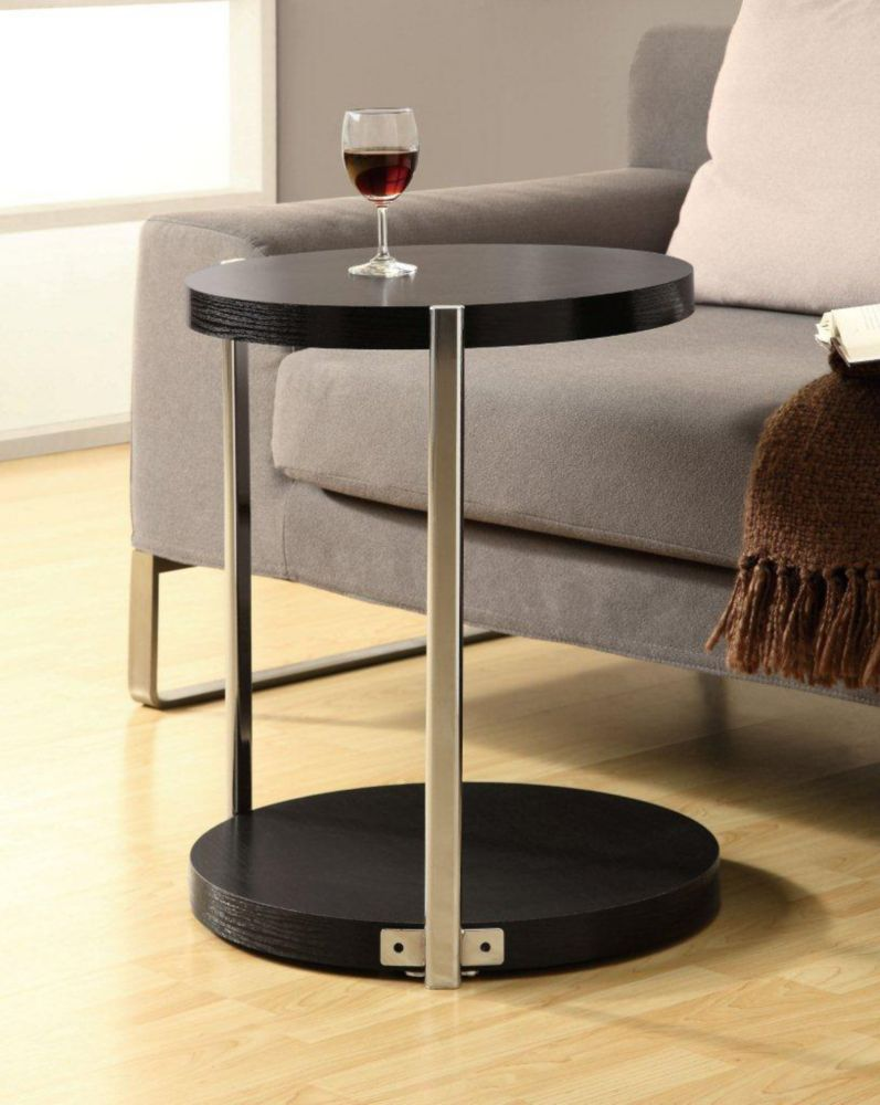 Accent Table - Cappuccino / Chrome Metal