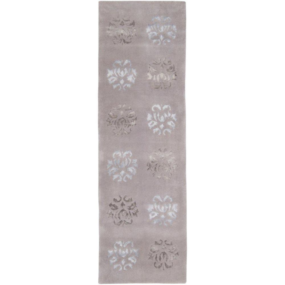 Penticton Light Gray Wool / Viscose Runner - 2 Ft. 6 In. x 8 Ft. Area Rug