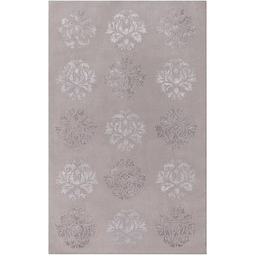 Penticton Light Gray Wool / Viscose  - 5 Ft. x 8 Ft. Area Rug