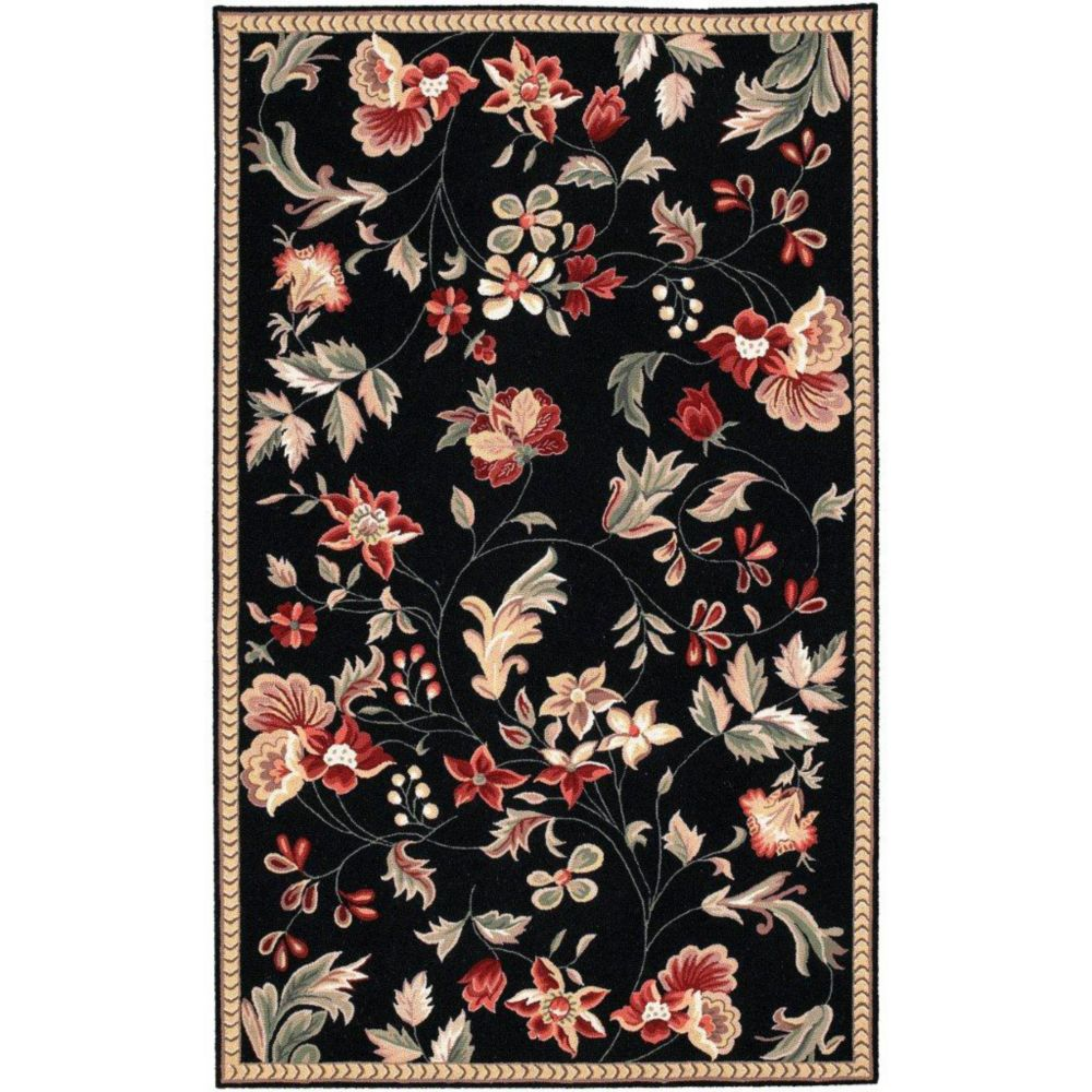 Quend Black Wool  - 3 Ft. 6 In. x 5 Ft. 6 In. Area Rug