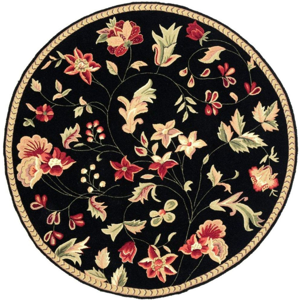 Quend Black Wool Round  - 3 Ft. Area Rug