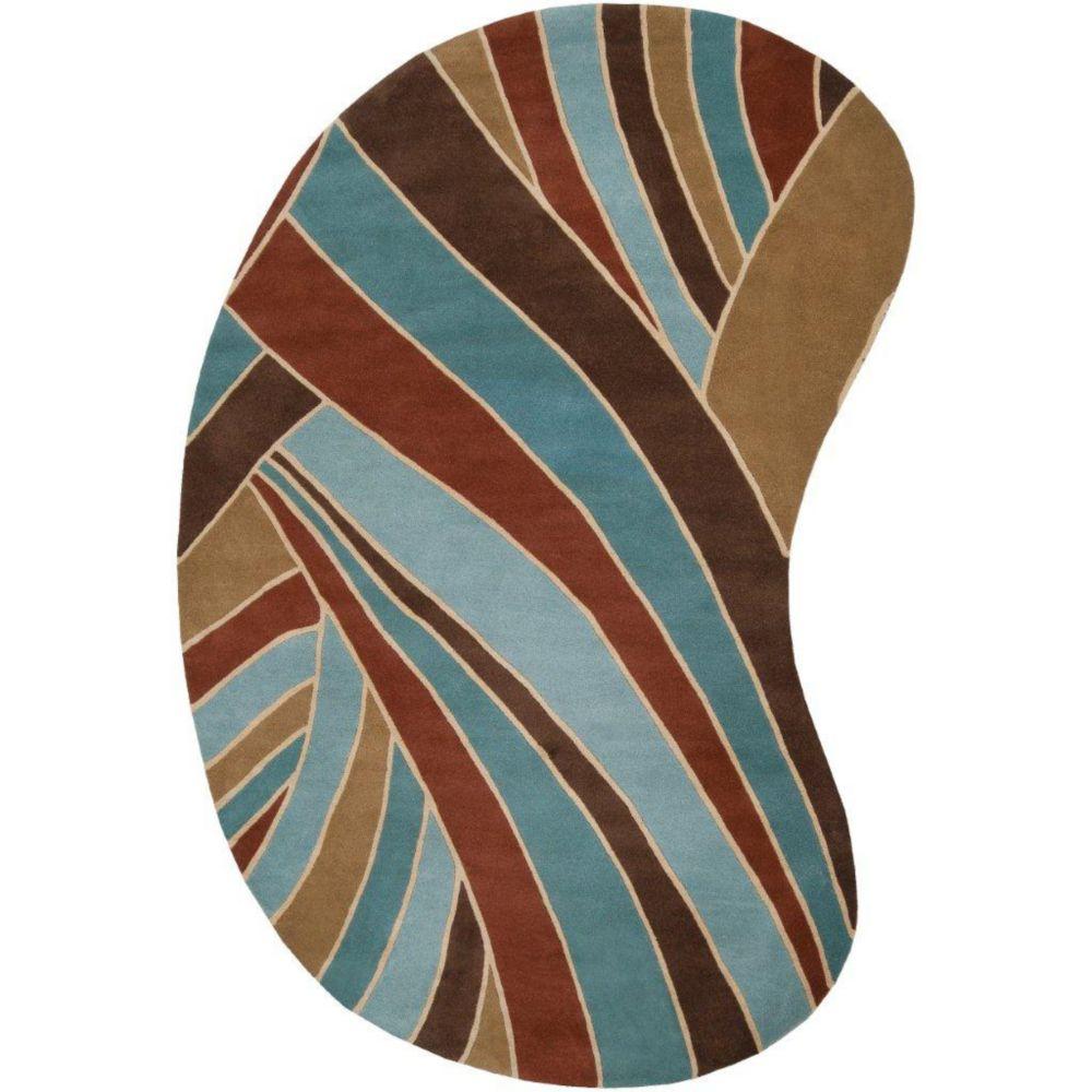 Tapis Querrien ciel  en laine  - 6 pieds x 9 pieds, en forme de haricot