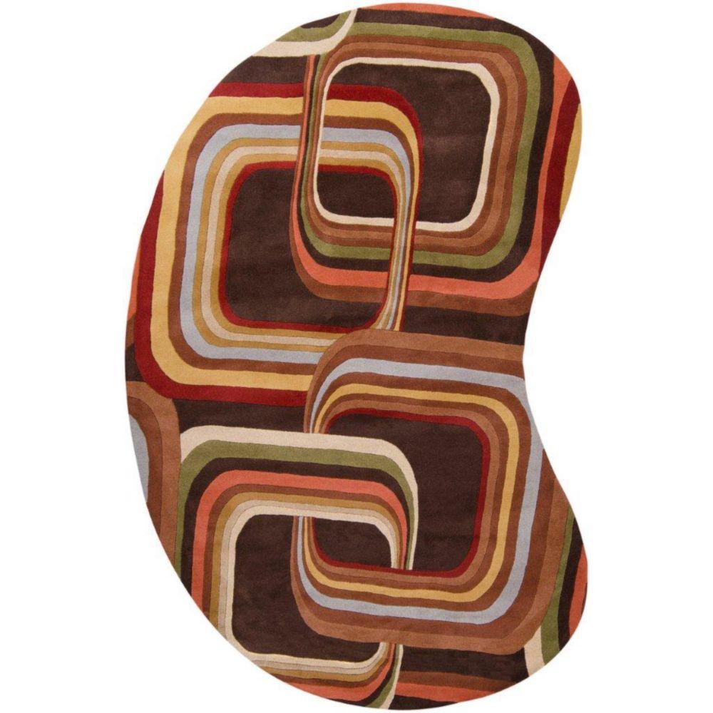 Rai Chocolate Wool 6 Feet x 9 Feet Area Rug Kidney