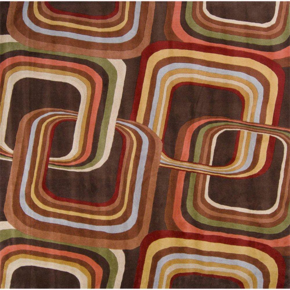 Rai Chocolate Wool 6 Feet Square Area Rug