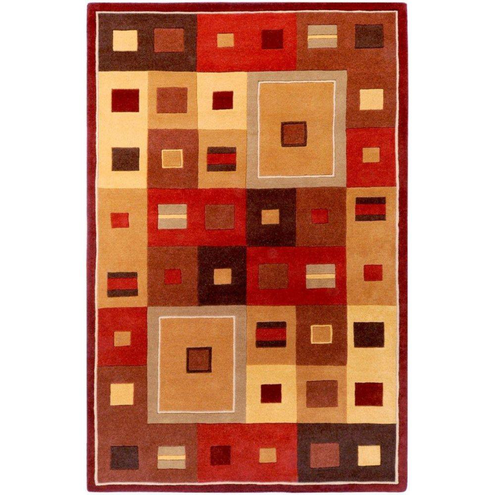 Tapis Ramatuelle bourgogne en laine  - 12 pieds x 15 pieds