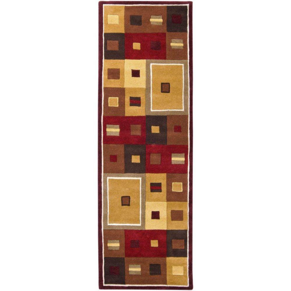 Ramatuelle Burgundy Wool 2 Feet 6 Inch x 8 Feet Runner