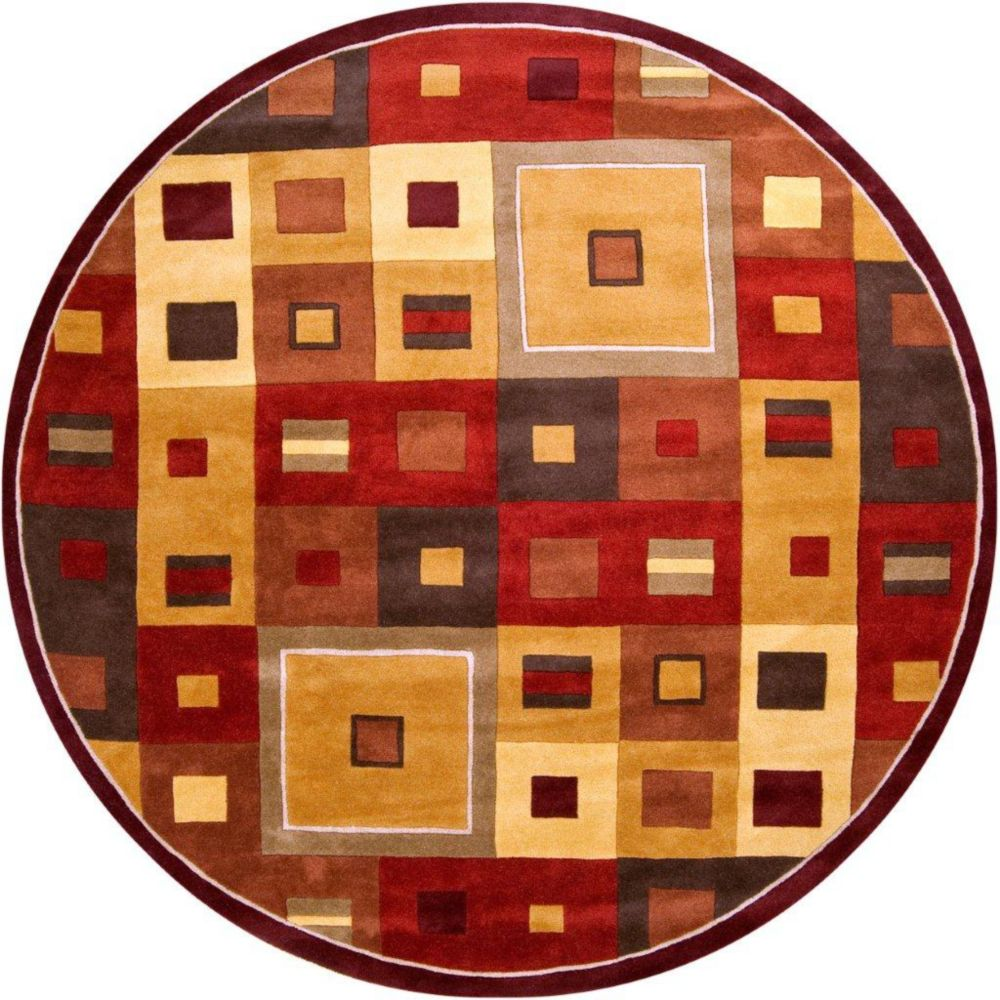 Ramatuelle Burgundy Wool 4 Feet Round Area Rug