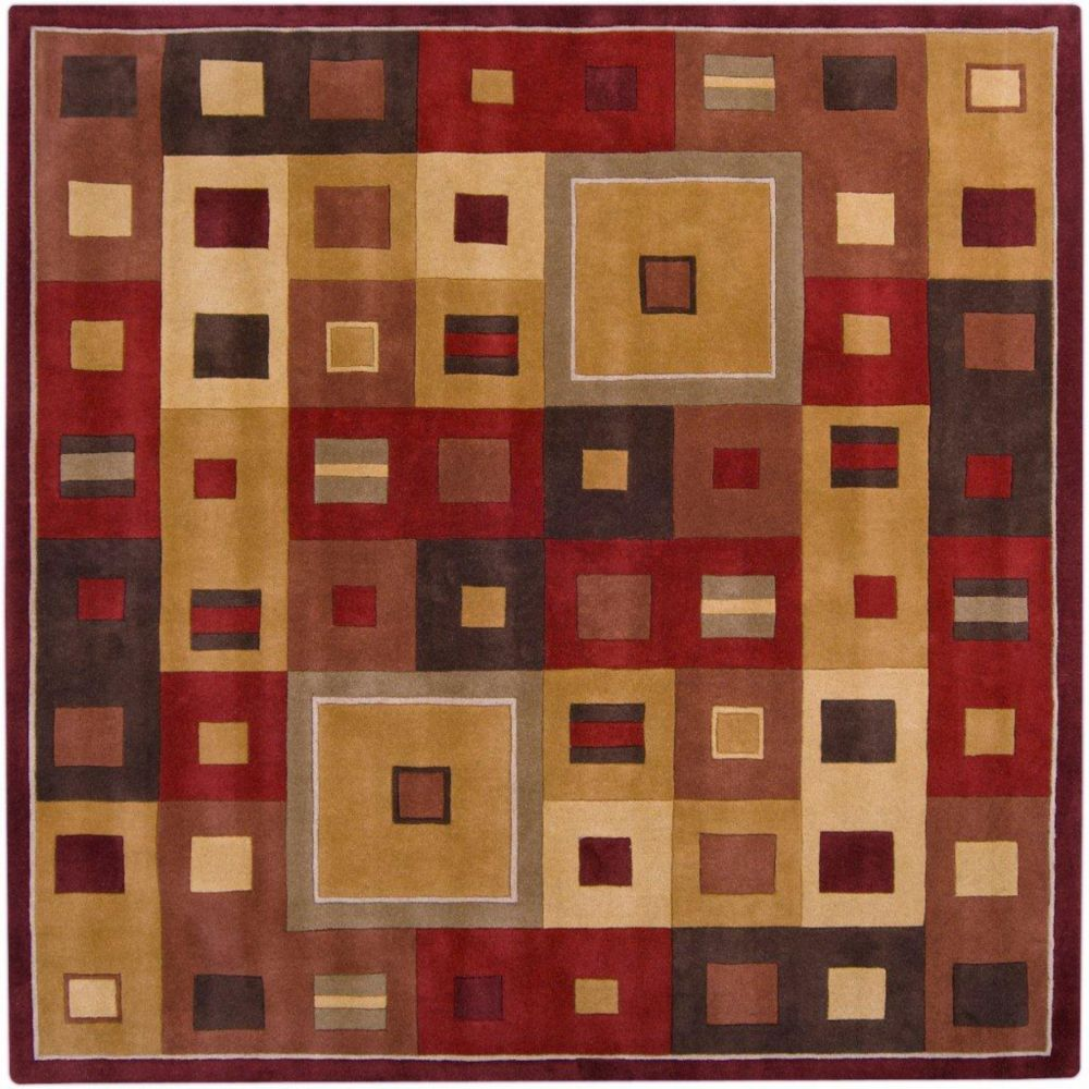 Ramatuelle Burgundy Wool Area Rug - 4 Feet Square