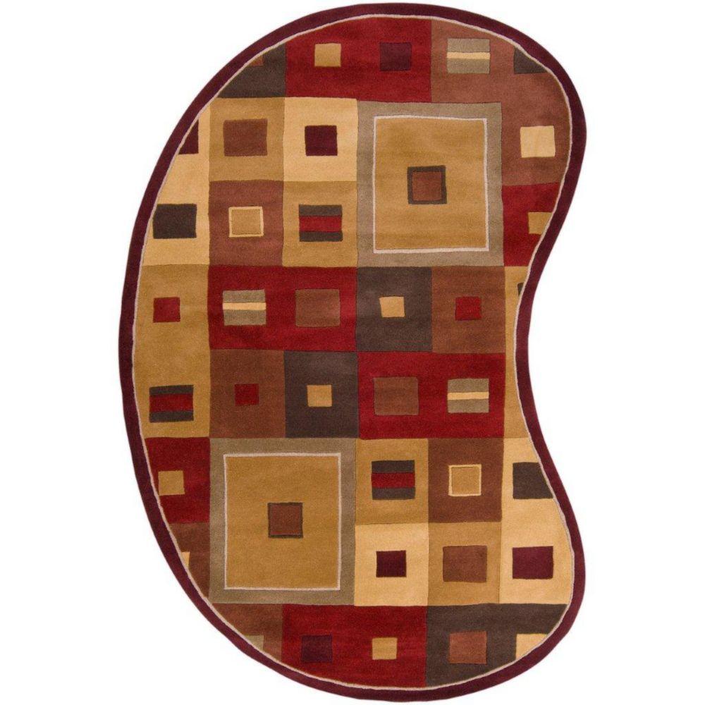 Ramatuelle Burgundy Wool 6 Feet x 9 Feet Area Rug Kidney