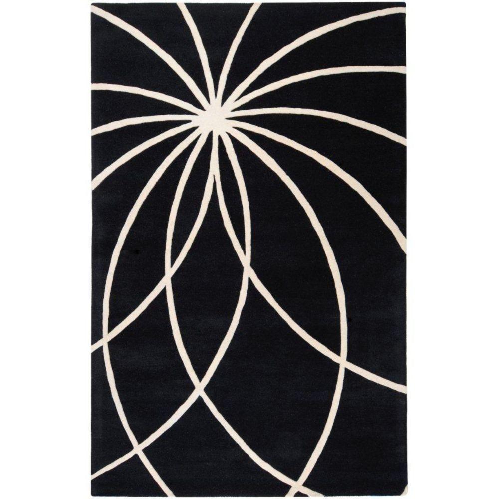 Tapis Rambouillet noir en laine  - 12 pieds x 15 pieds