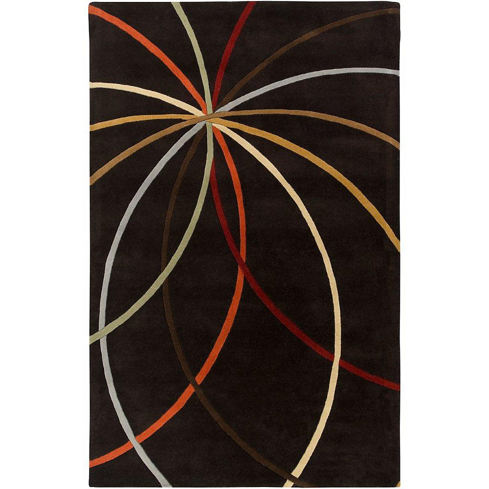 Sadirac Black 4 ft. x 6 ft. Indoor Contemporary Rectangular Area Rug