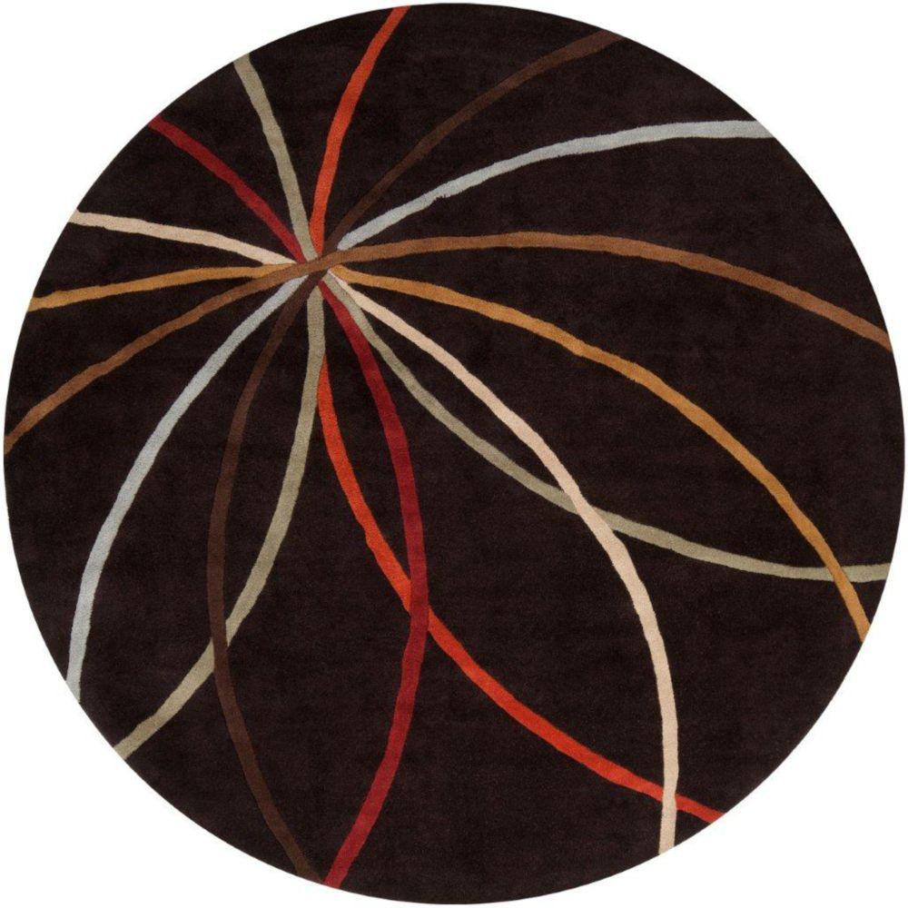 Tapis Sadirac  chocolat en laine  - 4 pieds, rond