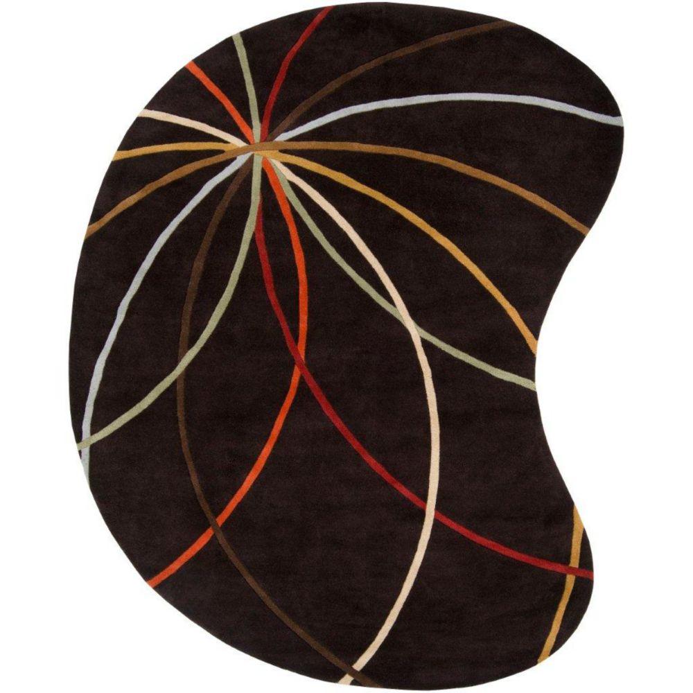 Tapis Sadirac  chocolat en laine  - 6 pieds x 9 pieds, en forme de haricot