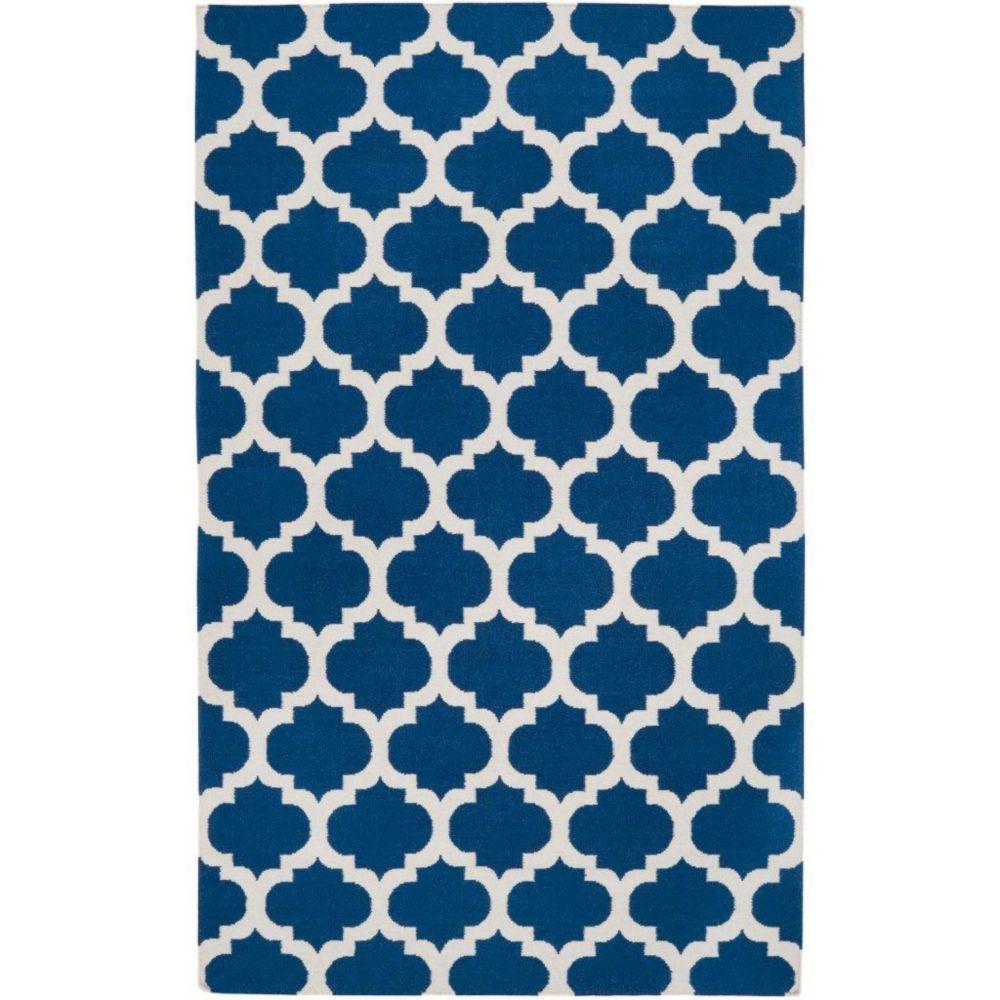 Tapis Taillades bleu saphire en laine  - 2 pieds x 3 pieds