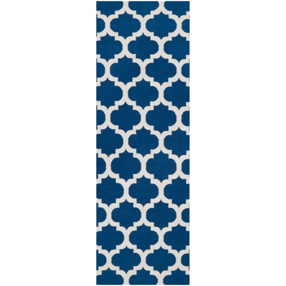 Taillades Royal Blue Wool Runner - 2 Ft. 6 In. x 8 Ft. Area Rug