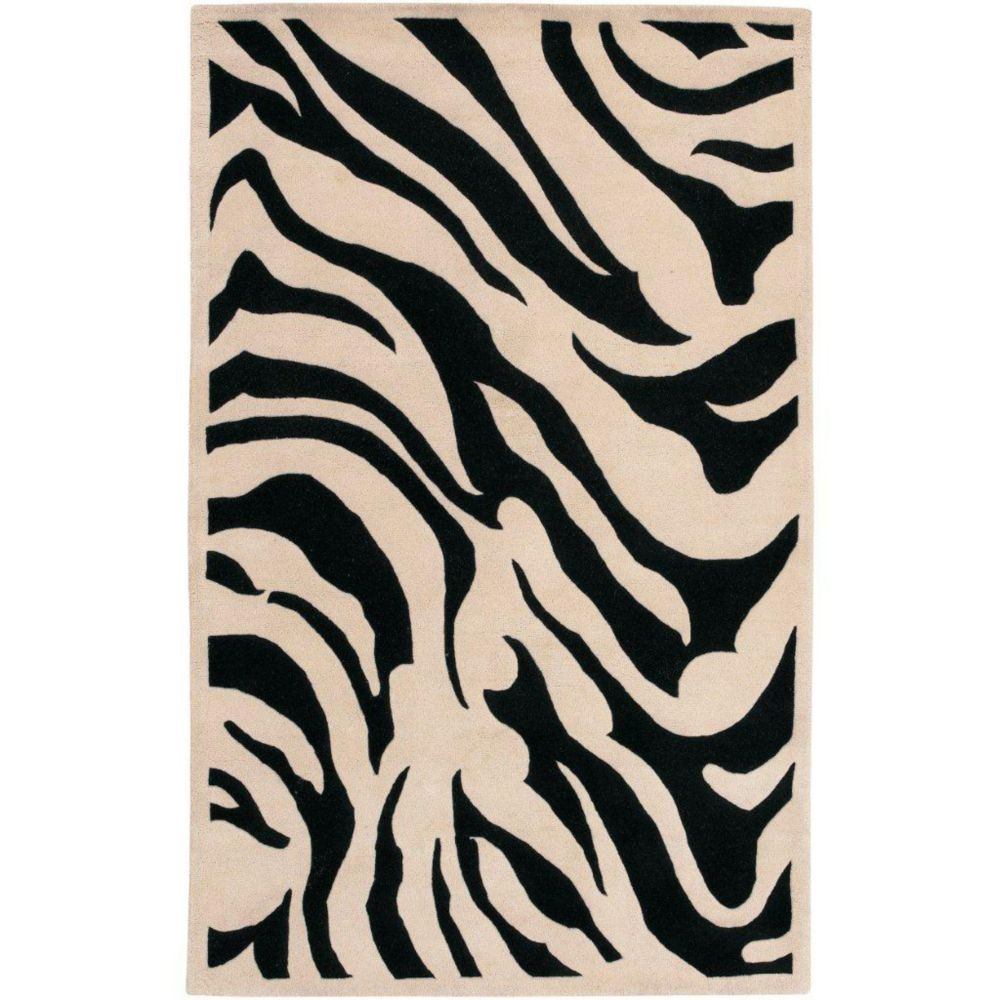 Talange Black New Zealand Wool 2 Feet x 3 Feet Accent Rug